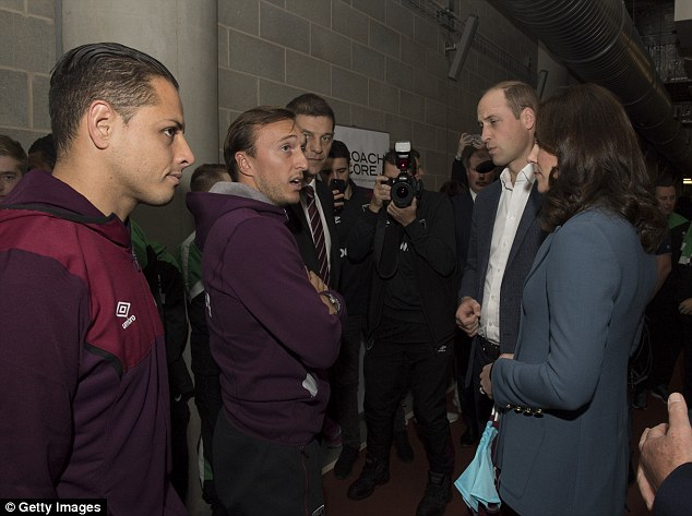 Javier Hernandez, Mark Noble and Slaven Bilic were all present for the Royal couple's visit
