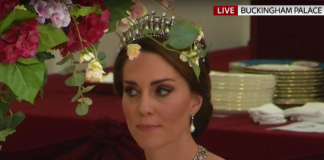 Kate Middleton also wears The Lover's Knot Tiara [Getty]