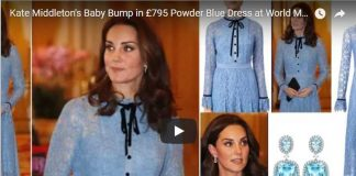 Kate Middleton's Baby Bump in £795 Powder Blue Dress at World Mental Health Day Reception