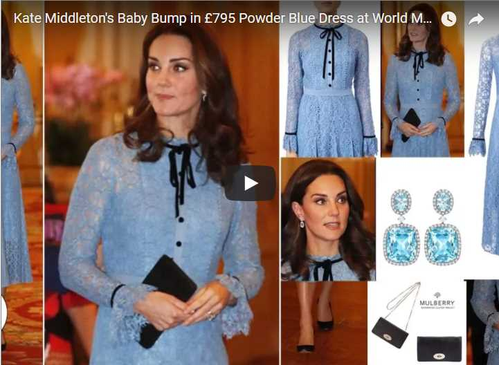 Kate Middletons Baby Bump in £795 Powder Blue Dress at World Mental Health Day Reception
