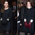 Kate and Mary wrap up in similar round neck black coats Photo C REX