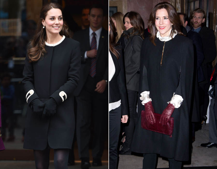 Kate and Mary wrap up in similar round neck black coatKate and Mary wrap up in similar round neck black coats Photo (C) REXs Photo (C) REX
