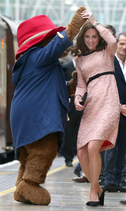 Kate met Paddington Bear at the event, and the pair delighted onlookers with a dance Photo (C) GETTY