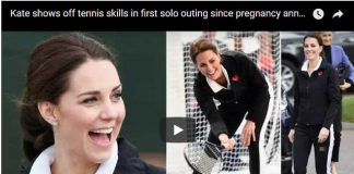 Kate shows off tennis skills in first solo outing since pregnancy announcement