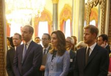 Kate was joined by Prince William and Prince Harry at the palace reception on Tuesday evening Photo (C) GETTY
