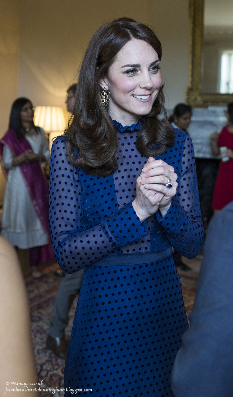 The Duchess of Cambridge attends a reception at Kensington Palace in London during which they met young people from India and Bhutan living, studying or working in the UK, ahead of her and her husband, the Duke of Cambridge, tour to India and Bhutan.