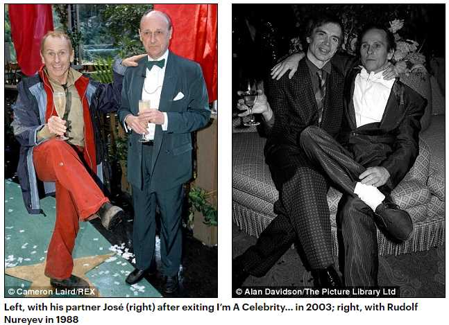 Left, with his partner José (right) after exiting I'm A Celebrity… in 2003; right, with Rudolf Nureyev in 1988