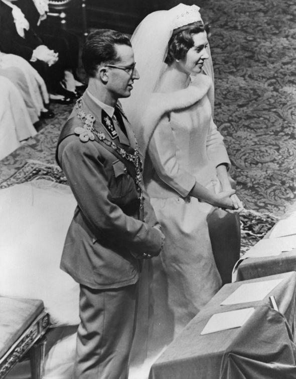 Meghan Markle wedding dress Queen Fabiola of Belgium stunned in Balenciaga Photo (C) GETTY IMAGES