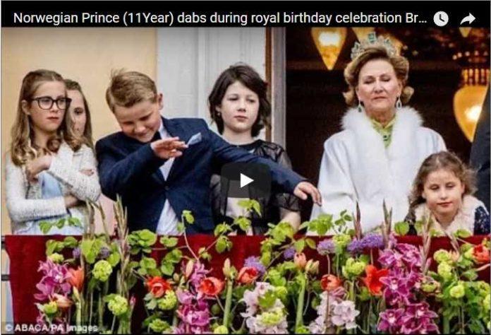 Norwegian Prince (11Year) dabs during royal birthday celebration Break Protocol Like Father Like Son