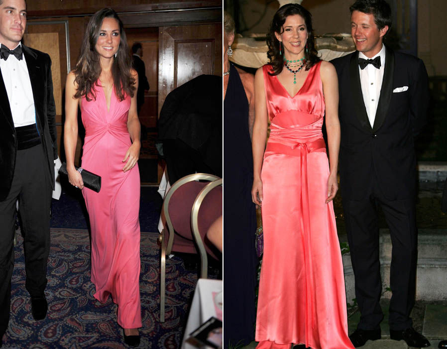 Pretty in pink Kate and Mary wore bold pink dresses in the naughties Photo (C) REX