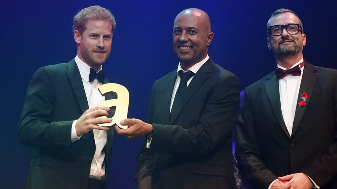 Prince Harry speaks after receiving a posthumous Legacy award on behalf of his mother Diana Princess of Wales. Credit PA