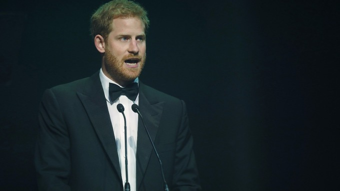Prince Harry speaks after receiving a posthumous Legacy award on behalf of his mother Diana, Princess of Wales. Credit PA