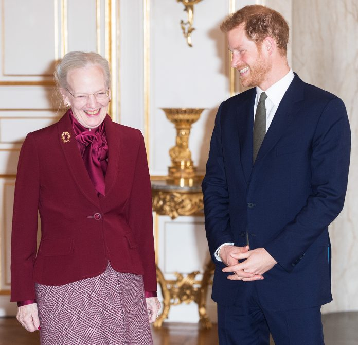 COPENHAGEN, DENMARK - OCTOBER 25: Prince Harry meets with Queen Margrethe II at Amalienborg Palace on October 25, 2017 in Copenhagen, Denmark. (Photo by Samir Hussein/Samir Hussein/WireImage)