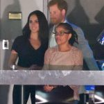 Prince Harry was pictured with Meghan Markle and her mother at the Invictus Games on Sunday Photo C GETTY