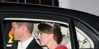 Prince William and Kate Middleton, who is wearing a tiara made by Garrard London, arrive for a state banquet to honour China's President, Xi Jinping. Photo (C) Getty Images