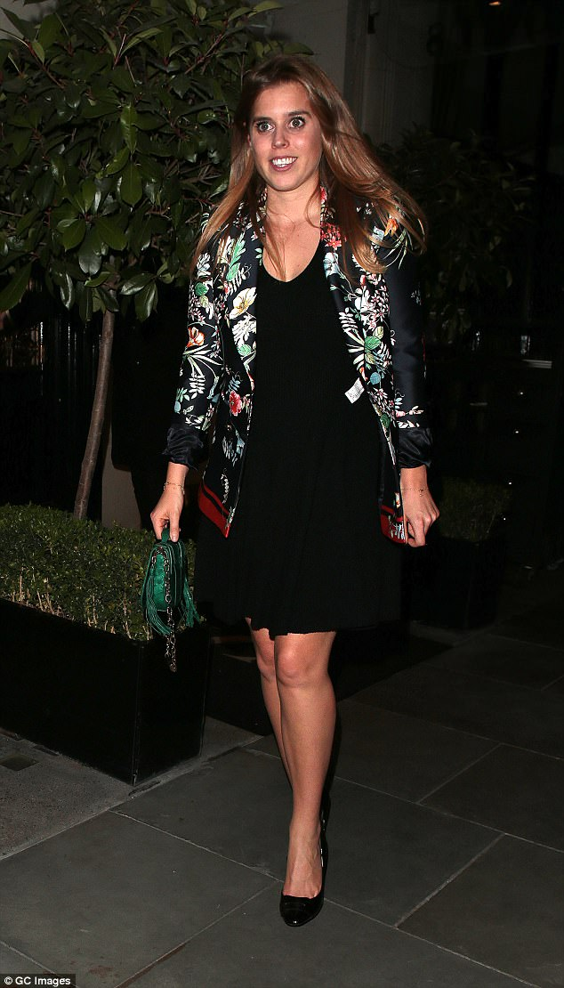 Princess Beatrice was snapped leaving Scott's restaurant in Mayfair on Monday night
