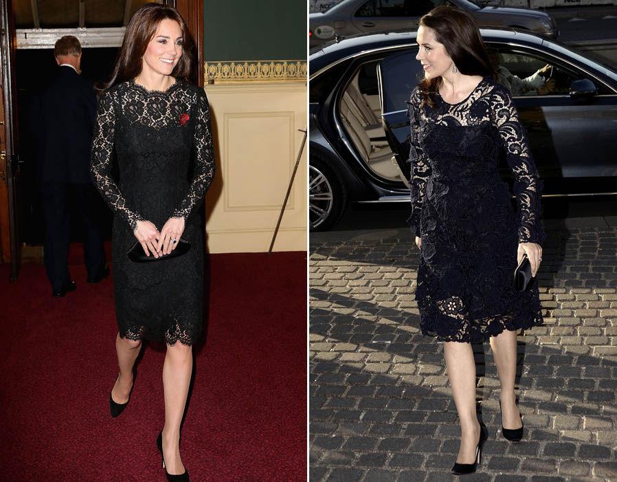 Snap! Both Royals wear black knee length lace dresses Photo (C) REX