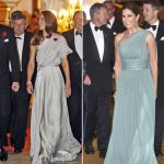 The Duchess and Crown Princess wow in these stunning off the shoulder numbers Photo C REX