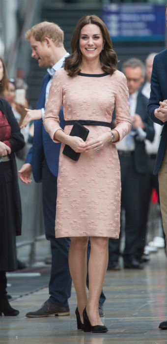 The Duchess of Cambridge opted for a sensible pair of black block heels Photo (C) GETTY