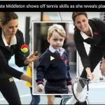 The Duchess of Cambridge said her son just wants to whack a ball at this age