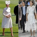 The Duchess of Cambridge wears white lace to Ascot. Mary of Denmark wears a similar look on a State visit to Japan Photo C GETTY REX