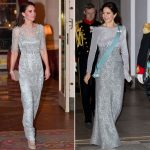 The Duchess of Cambridge wore a silver dress in Paris much like Marys dress Photo CREX