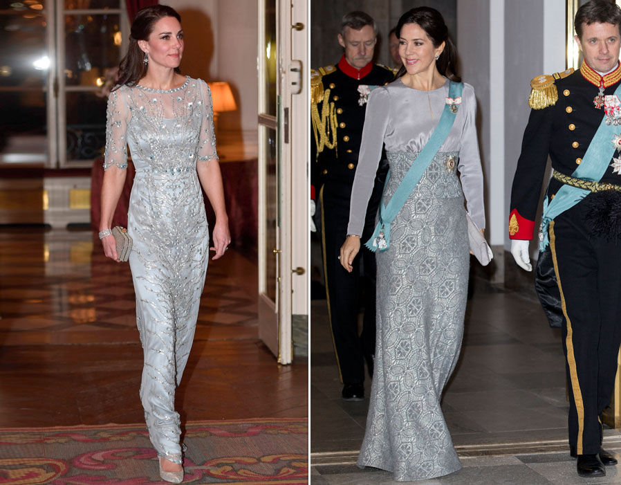 The Duchess of Cambridge wore a silver dress in Paris much like Mary's dress Photo (C)REX