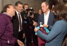 The Duke and Duchess of Cambridge are presented with West Ham replica shirts