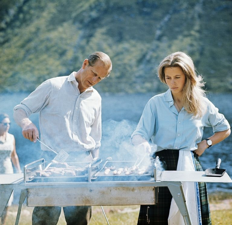 The Duke of Edinburgh and Princess Anne barbecue at Balmoral. Photo (C) GETTY