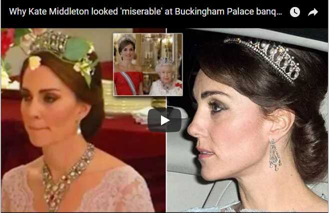 Kate donned the Lotus Flower with the Queens borrowed chandelier earrings for the state banquet to