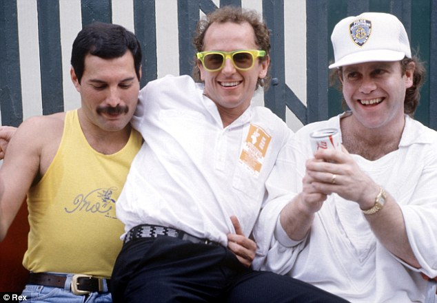 With Freddie Mercury and Elton John at the Live Aid concert, 1985