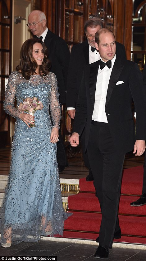 Kate and Will looked elegant and happy as they descended the red carpet at the Royal Palladium in London