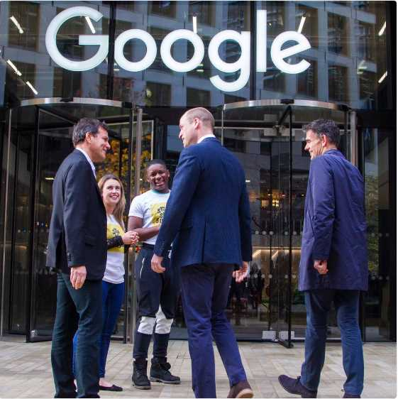 The Duke of Cambridge arrives at @GoogleUK HQ for the final meeting of the Cyberbullying Taskforce