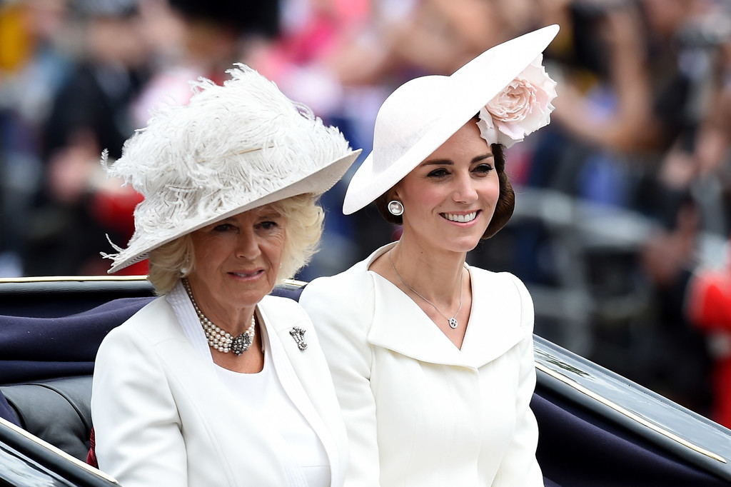 Catherine Duchess of Cambridge and Camilla Parker Bowles Trooping the Colour 2017