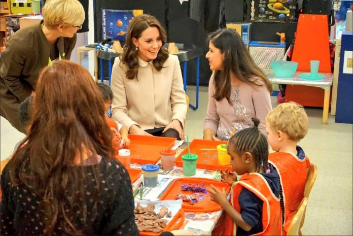 Catherine Duchess of Cambridge: The Duchess arrives at Hornsey Road Children's Centre to see the facilities which support local parents and young children Photo (C) TWITTER KENSINGTON PALACE