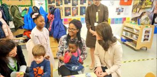 5 The Duchess chats to families in the nursery who have benefitted from Hornsey Road Childrens Centres support Photo C TWITTER KENSINGTON PALACE