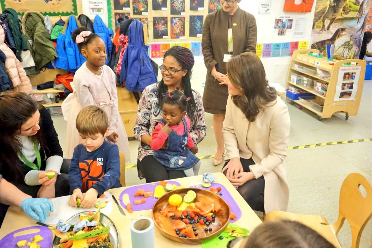 The Duchess chats to families in the nursery who have benefitted from Hornsey Road Children's Centre's support Photo (C) TWITTER KENSINGTON PALACE