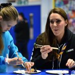 A bite to eat Catherine Duchess of Cambridge also had a go at eating a bit of chocolate