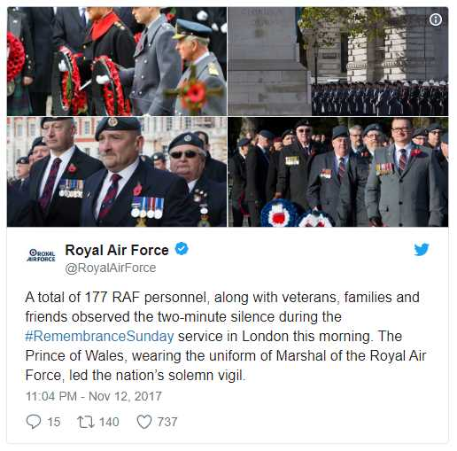A total of 177 RAF personnel, along with veterans, families and friends observed the two-minute silence during the #RemembranceSunday service in London this morning Photo (C) TWITTER
