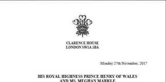 CLARENCE HOUSE The Prince of Wales is delighted to announce the engagement of Prince Harry to Ms. Meghan Markle. Photo C TWITTER