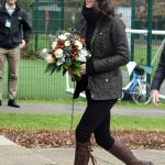 Country Kate The pregnant Duchess of Cambridge dressed down in a Barbour jacket and her trusty boots as she arrived for a day of gardening with children in London