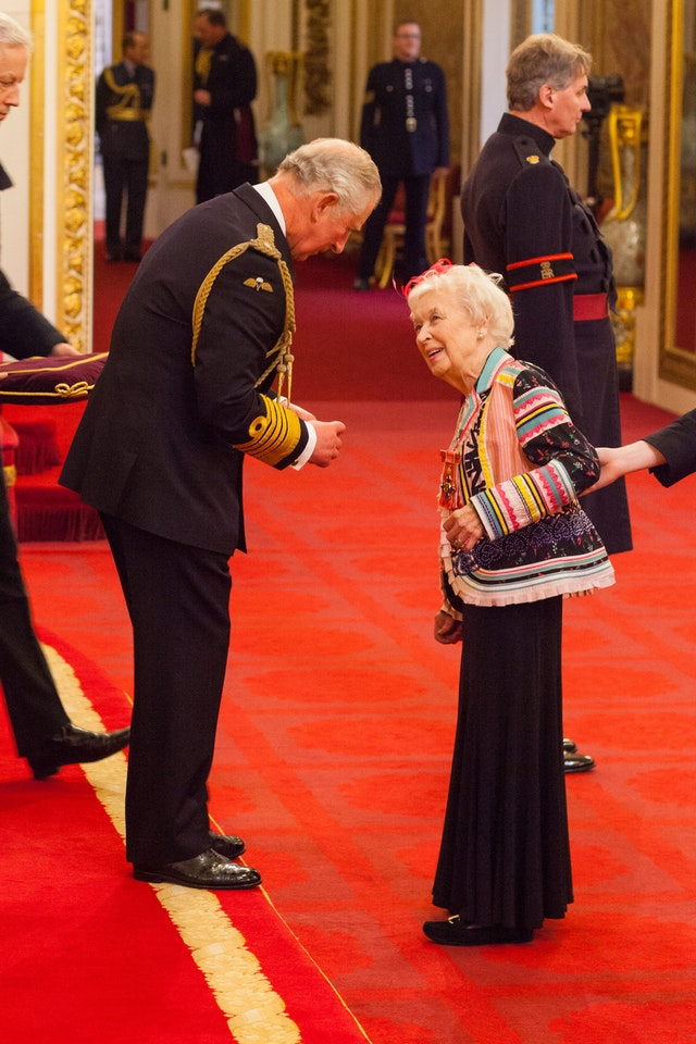 Dame June Whitfield from Kingston Upon Thames is made a Dame Commander of the British Empire by the Prince of Wales at Buckingham Palace (PA)