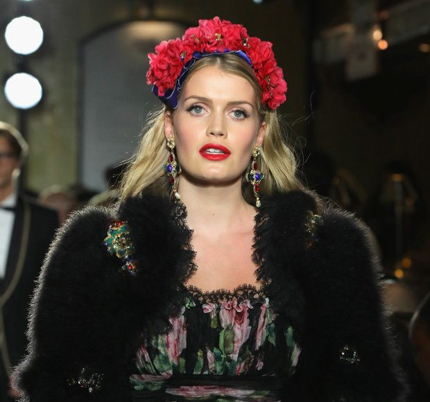 FLOWER POWER Kitty stunned recently when she walked in the Dolce and Gabbana showcase Photo (C) GETTY