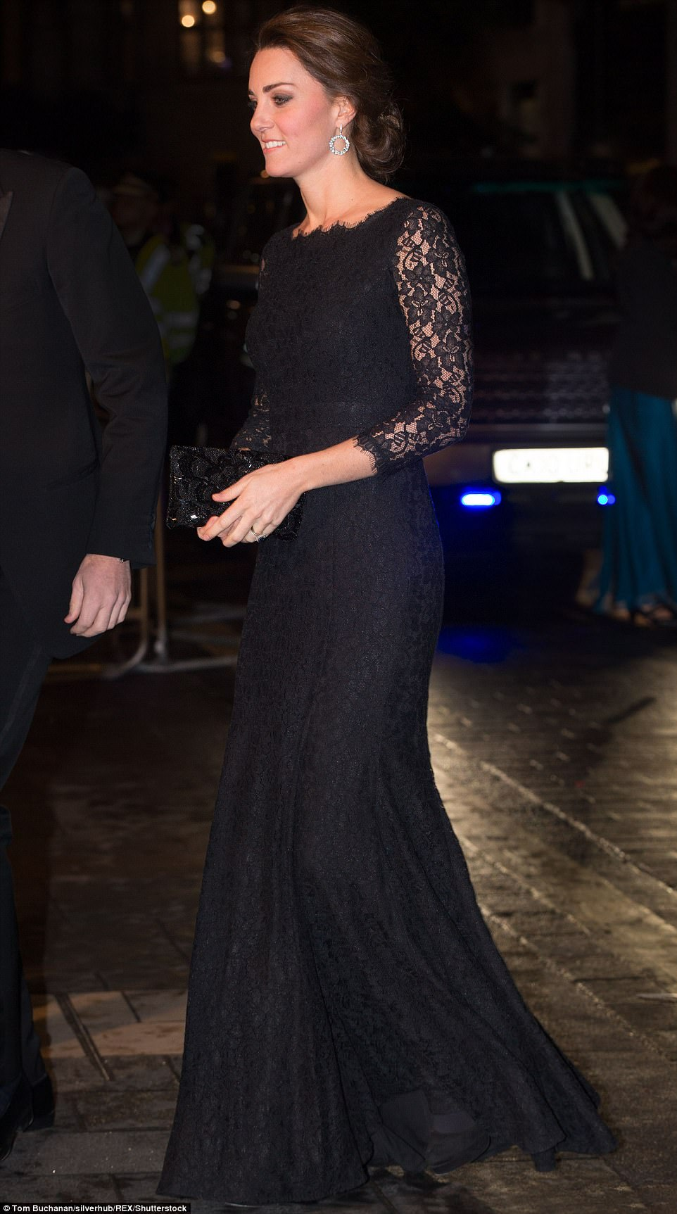 The Duchess of Cambridge looked elegant in a floor length Diane Von Furstenberg frock as she attended the charity gala