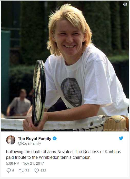 Following the death of Jana Novotna, The Duchess of Kent has paid tribute to the Wimbledon tennis champion. Photo