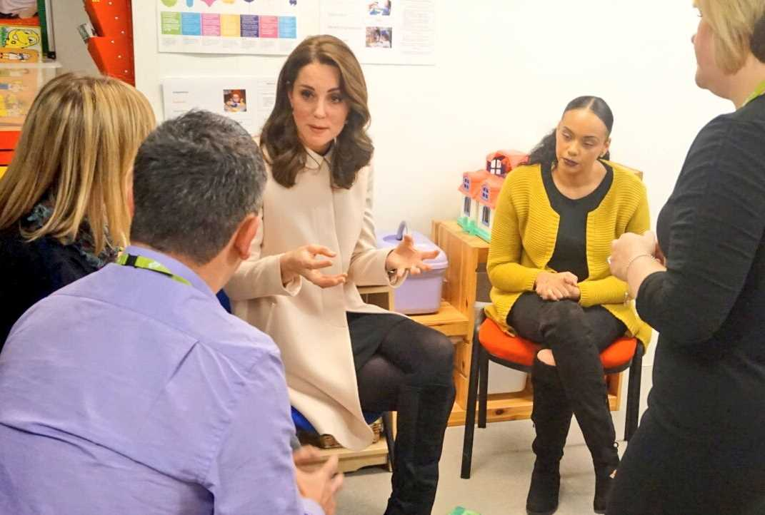 HRH hears more about the @family_action perinatal mental health services which operate nationwide. Photo (C) TWITTER KENSINGTON PALACE