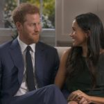 Harry and Meghan smirk in footage without sound taken during the filming of their BBC interview