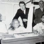 Julie with surgeon Eric Birkbeck l and his assistant Andy r in RY Britannia sickbay in 1992 Photo C BNPS