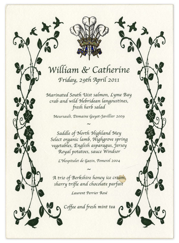 Kate Middleton Prince William wedding The couple served a menu filled with British produce Photo (C) WENN
