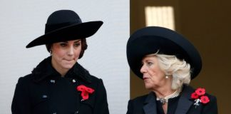 Kate Middleton and Camilla Parker Bowles both wore three poppies in 2016 for Remembrance Sunday [Getty]